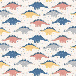 Dino's Party. Stegosaurus and confetti on beige