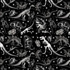 Black White Dino Skeletons and Vintage Drawings