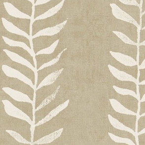 Botanical Block Print, Vanilla on Bronze Gold (xxl scale) | Leaf pattern fabric from original block print, neutral decor, plant fabric, tan fabric, cream and taupe.