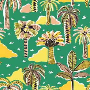 Palm Paradise_Green _ Pink