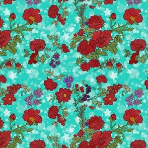Cottage Rose and Stars on Teal