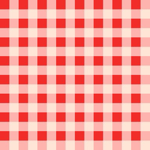 Small Gingham in Strawberry Red Bubblegum Pink and Cream Picnic Summer