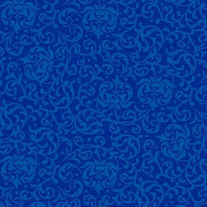 Blue Tudor Rose Damask Small