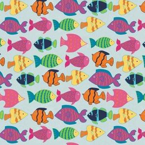 Deep Blue Sea-Multicolor School Of Fish
