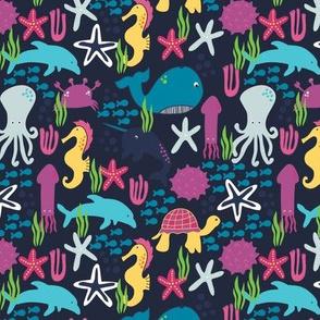Deep Blue Sea- Multicolor Sea Creatures Animals