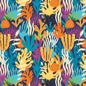 Deep Blue Sea-Coral Multicolor Sea Life