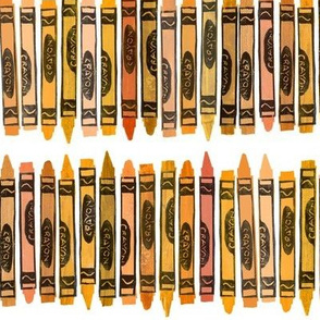 rows of orange rubberstamped crayons