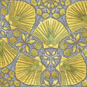 Golden Seashells Floral on Gray