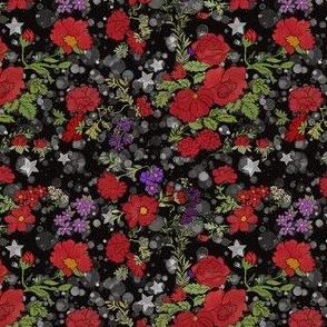 Red Cottage Rose on Starry Black Background