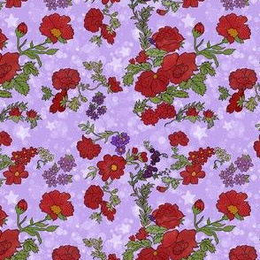 Red Cottage Rose on Lavender Purple Star Background