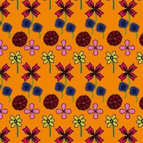 flowers on orange
