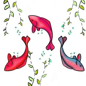 pink and blue koi
