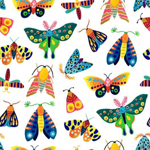 hand painted butterflies and moths girl pattern