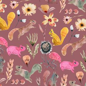 Squirrel watercolor florals_Old Rose