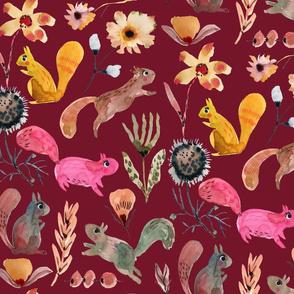 Squirrel watercolor florals Burgundy