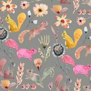 Squirrel watercolor florals_Grey