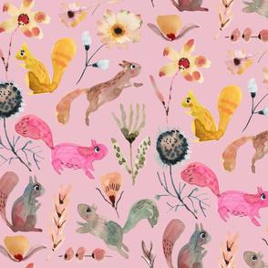 Squirrel watercolor florals_Soft Pink