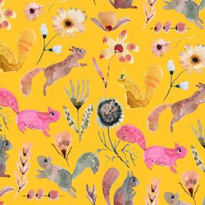 Squirrel watercolor florals_Yellow