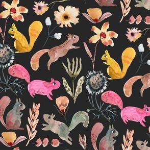 Squirrel watercolor florals in Black