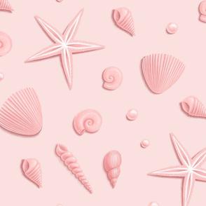 Pink Seashells, Starfish and pearls