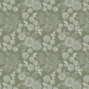 Little sketched wild flowers outline garden boho daffodil daisies and hydrangea flowers and leaves spring nursery camo olive green white SMALL