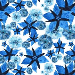 Flowery Meadow On White  - Around Indigo -  indigo, turquoise, ultramarine, light blu, blu, white