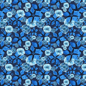 Flowery Meadow On Indigo  - Around Indigo -  indigo, turquoise, ultramarine, light blu, blu