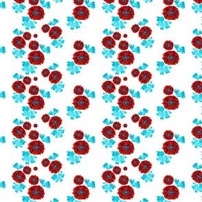 Red Bloom  - Around Indigo - flowers, red, turquoise,  white