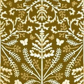Mustard Brown & White Grass Demask - Medium Scale
