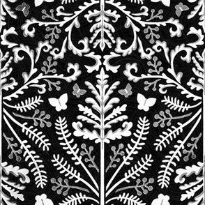 Monochrome Grass Demask - Medium Scale