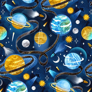 Highway to Intergalactic Adventures - Navy Blue & Mustard Yellow - Large Scale