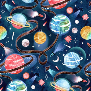 Highway to Intergalactic Adventures - Navy Blue, Pink & Yellow - Large Scale