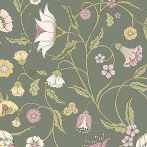 Bella Nora green floral climbing pattern large