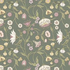 Bellanora green floral climbing pattern medium