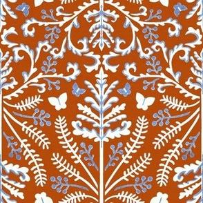 Tangerine, Blue & White Grass Demask - Medium Scale