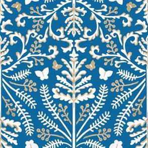 Blue & White Grass Demask - Medium Scale