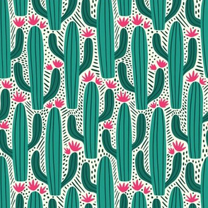 Cactus Country -  Medium Scale Teal Pink