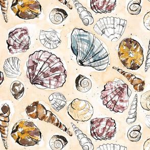 Watercolor Seashells // Large