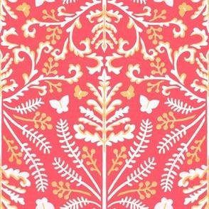 Pink & White Grass Demask - Medium Scale