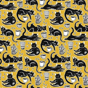 Black Cats & Coffee on Classic Yellow - Small Scale