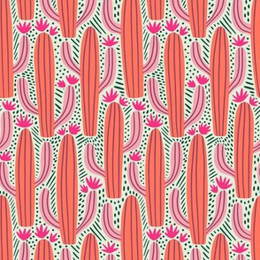 Cactus Country - Medium Scale Bright Pink Coral