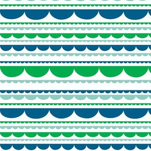 Scalloped Stripe Blue and Green