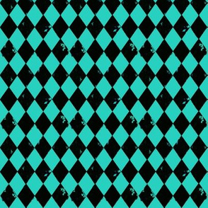 Harlequin Diamond Teal Green and Black
