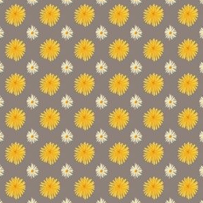 Daisy and Dandelion Warm Grey