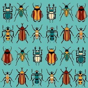 Tropical Beetles on Turquoise