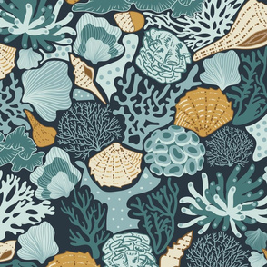 Shell Reef- Seashells on the ocean floor- Gold Isabelline shells in Teal Coral Reef on Dark Cyan Blue- Large Scale