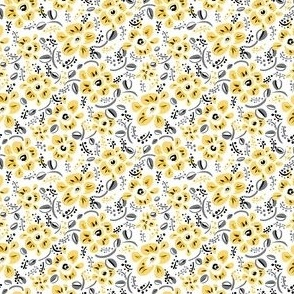 millefleurs modern yellow flowers