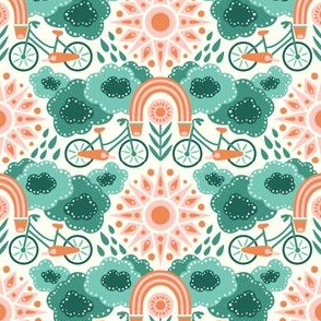 Bicycles + Rainbows Small Scale Teal Orange