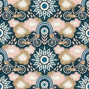 Bicycles + Rainbows Small Scale Navy Blush