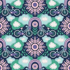 Bicycles + Rainbows Small Scale Purple Green Blue Pink